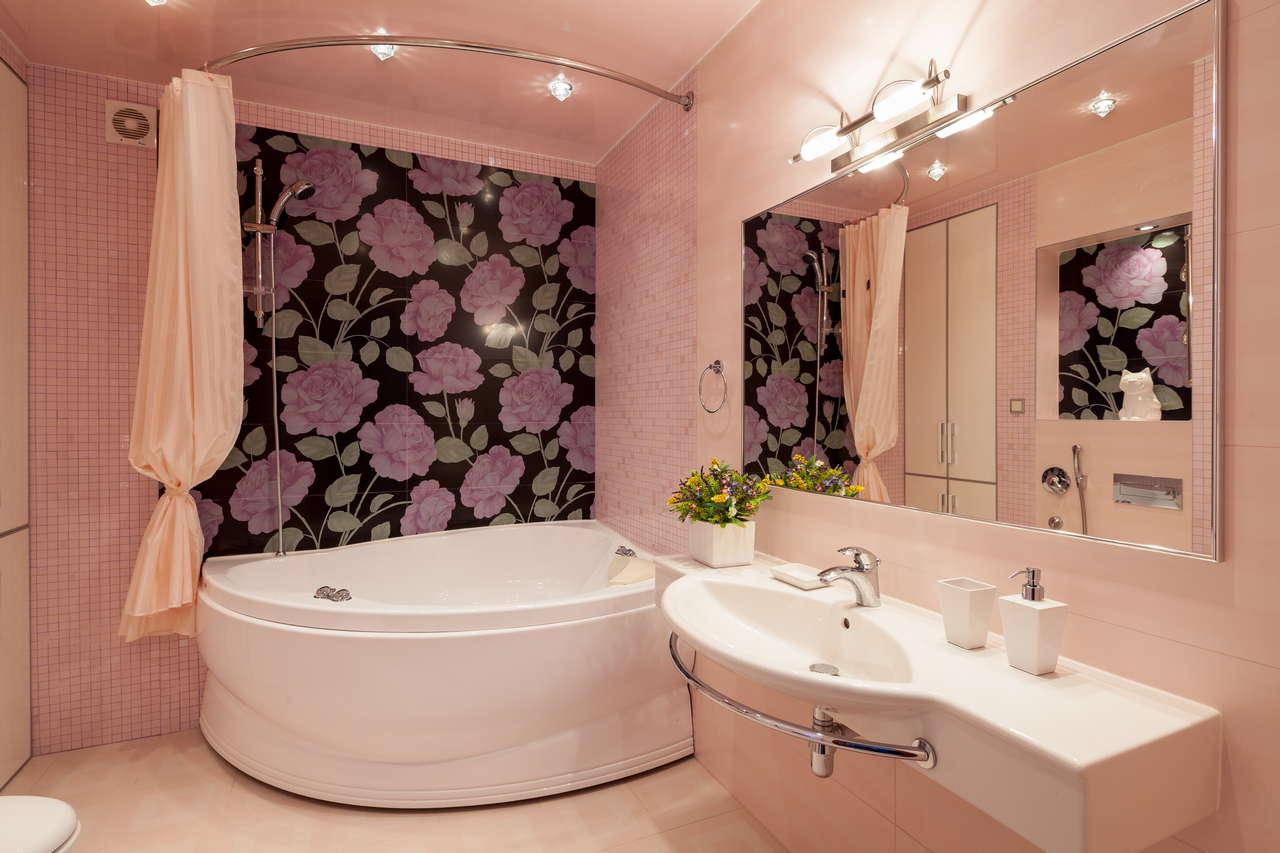 Дизайн ванной угловой